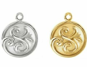 10K 14K 18K Solid Gold Vintage Style Scroll Round Charm Disc Dangle Pendant Drop