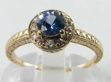DIVINE 9K 9CT GOLD CEYLON SAPPHIRE DIAMOND ART DECO INS HALO RING FREE RESIZE