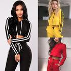 US Womens Sport Hoodies Sweatshirt Crop Tops Pants Set 2Pcs Tracksuit Sweat Suit