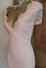 Jane Norman ❤️  Salmon Pink Lace Sequin bodycon Stretchy dress size 14 16