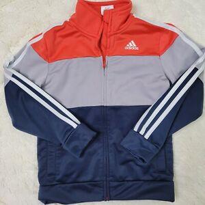 Adidas Boys Track Jacket Orange Blue Zip Up Long Sleeve Size 6