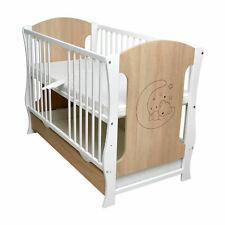 Kinderbett Babybett 120x60 weiß-Sonoma Neu Gitterbett Schublade Matratze Motiv