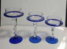 3 Cobalt & Clear Art Glass Twisted Stem Graduated Candlesticks Candle Holders