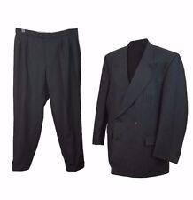 BURBERRY Suit Chest 42 W36 L30 Dark Grey Pinstripe Designer Office Wedding Retro