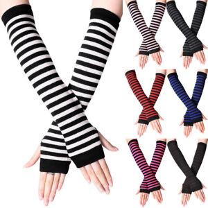 Womens Striped Fingerless Hand Elbow Gloves Casual Arm Warmer Long Sleeve Mitten