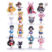 PVC Figures Anime Sailor Moon Mars Mercury Jupiter Venus Chibi Toy 8cm 16Pcs/Set