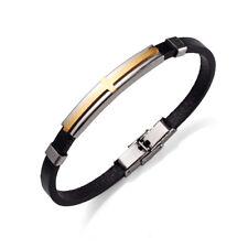 Men Women Genuine Leather Bracelet Charm Cross Stainless Steel Bangle Gold Black