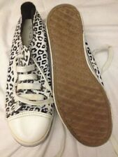 Step By - Sneakers Tela Leopardate Bianche e Nere Zeppa 4cm N. 38 -  Usate