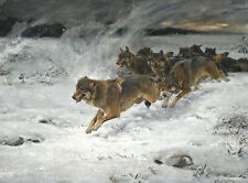 Alfred Von Wierusz Kowalski  A pack of wolves Oil Painting repro