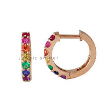 Natural Multi Sapphire Rainbow Gemstone Huggie Hoop Earrings in 14k Rose Gold