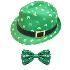 Irish Cappello Borsalino e Verde con Paillettes e Fiocco Cravatta S. PATRIZIO Party Costume
