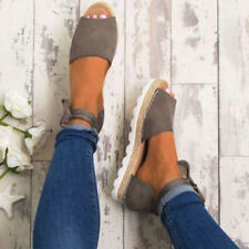 WOMEN FLAT LOW WEDGE HEELS ESPADRILLES SUMMER CLEATED SANDALS SHOES SIZE 3.5-7.5