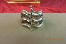 Vintage Taxco Mexico F Balladares B Sterling Abalone Shell Clamper Cuff Bracelet
