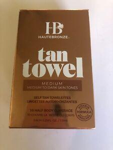 HauteBronze Half Body Self Tan Towelettes, Tan Towel, 10 count Medium To Dark