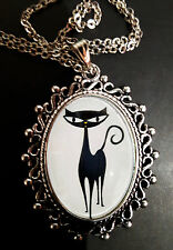 Shag Cat Ornate Antique Silver Pendant Necklace Kitty 1960's Kitsch Retro