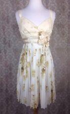 Anthropologie Deletta Beige/White Floral Applique Pleated Lace Eyelet Dress Sz S