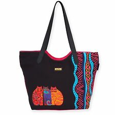Laurel Burch Zig Zag Black Brights Cat Tote Bag Large Shoulder HandBag New