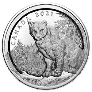 2021 Canada $50 Multilayered Cougar 3.4 oz .9999 Silver Coin - 1,500 Made