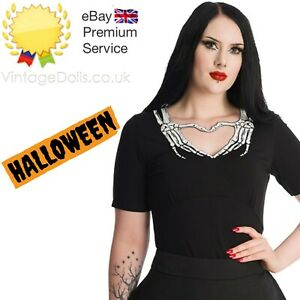 Banned Apparel Goth Emo Punk Skeleton Heart Black Keyhole Scary Halloween Top