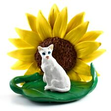 White Oriental Shorthaired Cat Sunflower Figurine