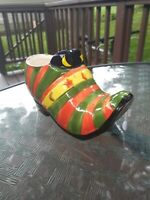 """Ceramic Halloween Witch Shoe Planter 6"""" Hand painted"""