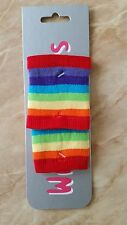 RAINBOW WRIST BAND/SWEATBANDS PAIR FOR FANCY DRESS.