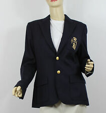 Ralph Lauren Button Front Jacket Womens 8 Navy Blue Gold Crest Wool MSRP $598
