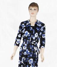 Vestido negro de 40s con diseño de flores azul más tamaño con Chaqueta que empareja