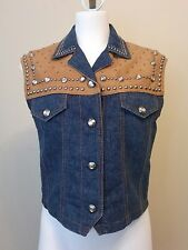 Womens Cripple Creek Snap Front Leather and Blue Denim Jean Vest Studs Sz Small