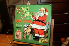 """Christmas Santa Claus Coming to Town Metal Sign Retro-Look 11-1/2"""" x 11-1/2"""""""