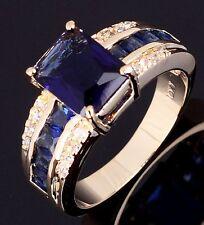 Jewelry Size 10 Men Women Fashion Anniversary Blue Sapphire 18K Gold Filled Ring