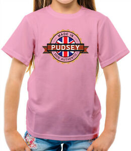 Made In Pudsey Kids T-Shirt - Town - Hometown - Born In - Bear - West Yorkshire