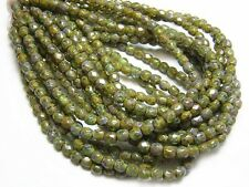 3mm Antiqued Olivine Picasso Czech Glass Firepolished Round Beads (50) #3229