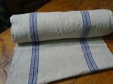 A Homespun Linen Hemp/Flax Yardage 19 Yards x 19'' Blue Stripes # 9770