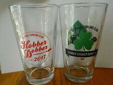 2 St.Paul MN Curling Club Hobber Dobber Pint Beer Glasses from 2014 & 2017