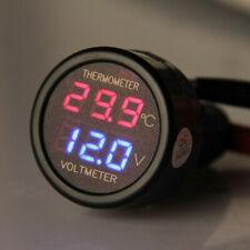 LED Dual Display Car Battery Thermometer Voltmeter Voltage Meter DC 12V - Blue