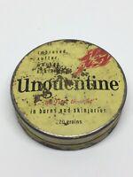 """Rare Small TIN """" UNGUENTINE """" Cream For Burns 2"""" In Diameter."""