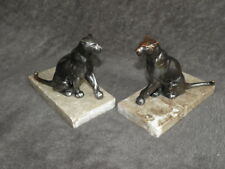 vintage Art Deco bookends panther wild feline Marble Stunning figurine book old