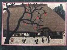 Kiyoshi Saito Village Scenes With Persimmons Stamped & Signed Japanese Woodblock