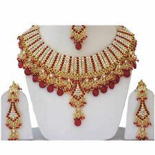 Gold Plated Jodha's Kundan Zerconic Bollywood Necklace Set Earrings Tikka ES6