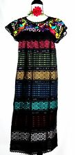 5 de Mayo Mexican Black Dress Hand loom Embroidered Bird Flower Cotton M/L