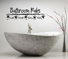 BATHROOM RULES MONKEY VINYL LETTERING BATH WORDS  DECOR DECAL WALL ART STICKER