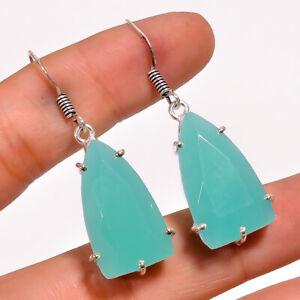 "Aqua Chalcedony Gemstone 925 Sterling Silver Handmade Jewelry Earring 1.7"" M1451"