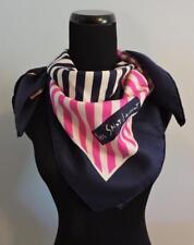 "VTG YSL Yves Saint Laurent 100% Silk Scarf Classic Pink & Navy Stripe 33"" Square"