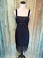 Laundry Shelli Segal Little Black Dress Stretch Lace Belt Bow Cocktail sz 8 EUC!