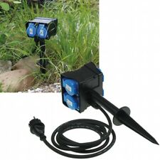 Gartensteckdose IP44 4-fach Erdspieß 250V 16A Kabel 1,4m Deckel Schutzkontakt
