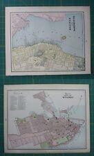 Dartmouth, NH Quebec, Canada Vintage Original 1897 Cram's World Atlas Map Lot