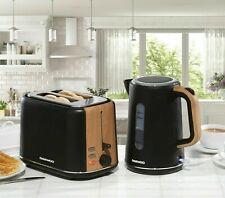 Daewoo Stockholm 2 Slice Toaster & Cordless Kettle Set Matte Black & Wood Finish