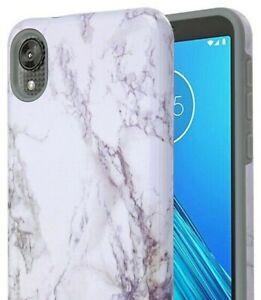 For Motorola Moto E6 - Hard Hybrid Armor Case Cover White Gray Marble Pattern