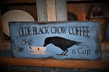 Large Primitive Blue Olde Black Crow Coffee Wood Sign Country Folk Art Decor